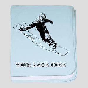 Custom Downhill Snowboarder baby blanket
