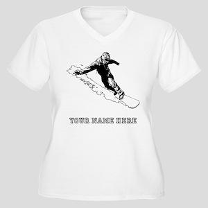 Custom Downhill Snowboarder Plus Size T-Shirt