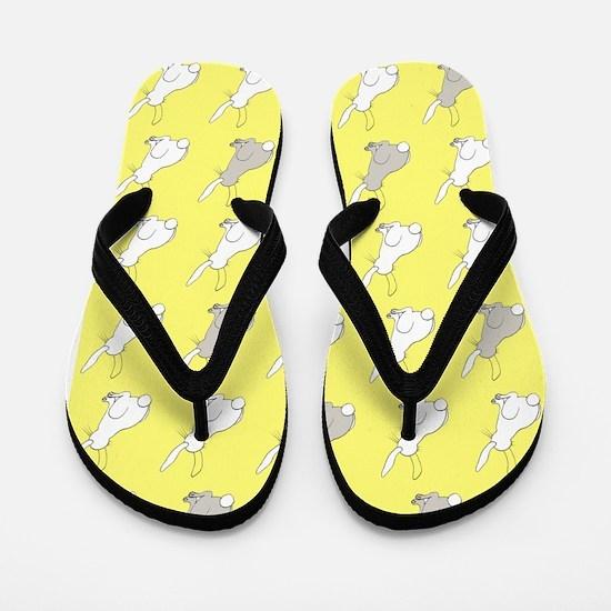 Yellow Rabbits Flip Flops