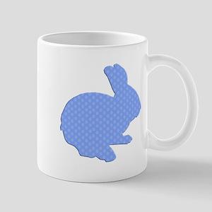 Blue Polka Dot Silhouette Easter Bunny Mugs