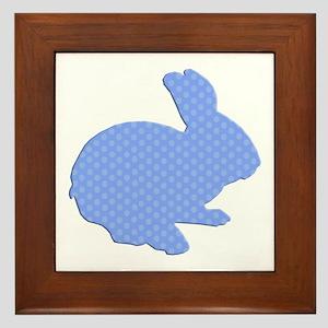 Blue Polka Dot Silhouette Easter Bunny Framed Tile