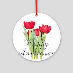 Happy Anniversary Red Tulips Ornament (Round)
