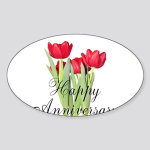 Happy Anniversary Red Tulips Sticker
