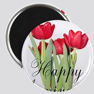 Happy Anniversary Red Tulips Magnets