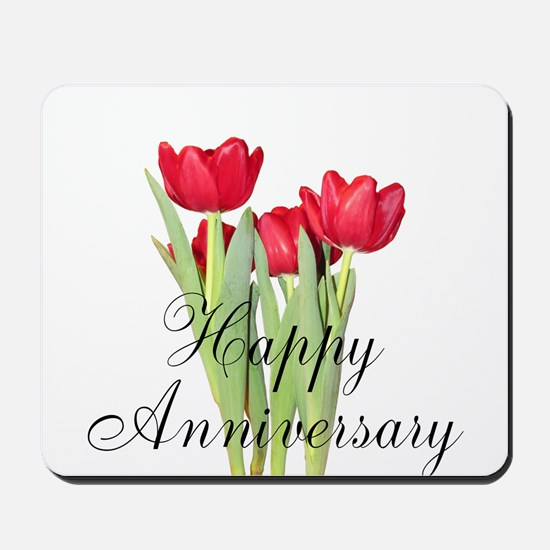 Happy Anniversary Red Tulips Mousepad