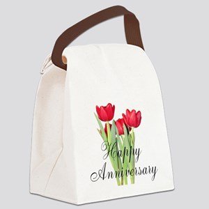 Happy Anniversary Red Tulips Canvas Lunch Bag