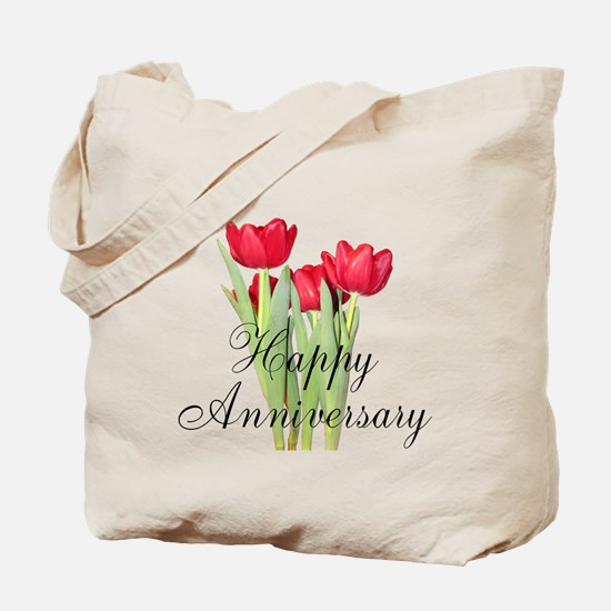 Happy Anniversary Red Tulips Tote Bag