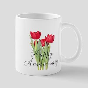Happy Anniversary Red Tulips Mugs