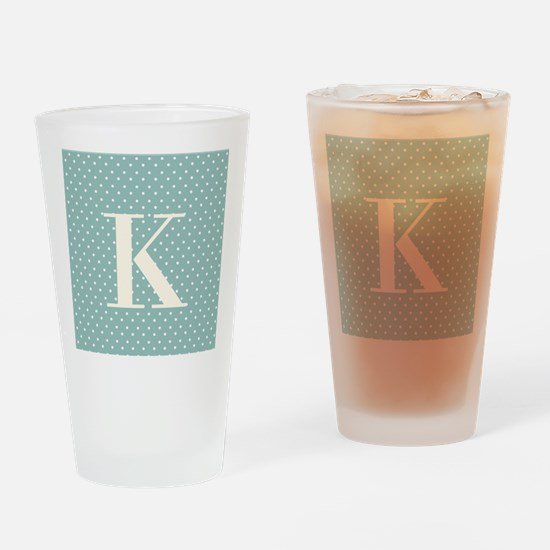 K Initial on Blue Drinking Glass