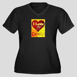 I Love Camel Women's Plus Size V-Neck Dark T-Shirt