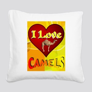 I Love Camels Square Canvas Pillow