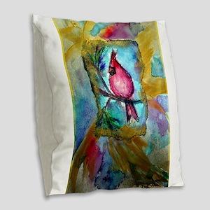 Cardinal, red bird art! Burlap Throw Pillow