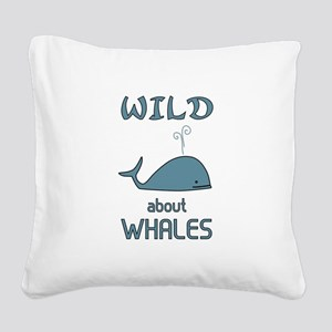 Wild About Whales Square Canvas Pillow