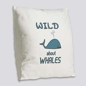 Wild About Whales Burlap Throw Pillow