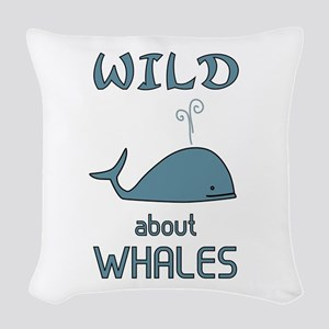 Wild About Whales Woven Throw Pillow