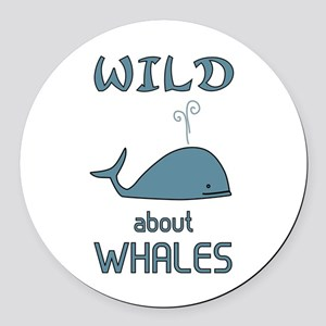 Wild About Whales Round Car Magnet