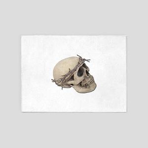 SkullBarbedWireCrown051411 5'x7'Area Rug