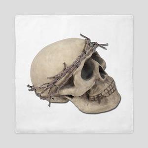 SkullBarbedWireCrown051411 Queen Duvet