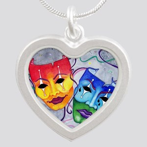 Comedy And Tragedy Design Heart Necklaces