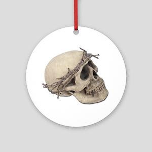 SkullBarbedWireCrown051411 Round Ornament