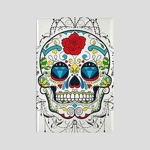 Colorful Retro Sugar Skull Red Ro Rectangle Magnet
