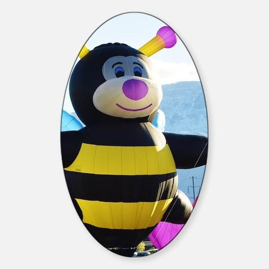 Bee Hot Air Balloon Sticker (Oval)