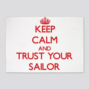 Keep Calm and trust your Sailor 5'x7'Area Rug