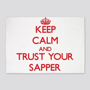 Keep Calm and trust your Sapper 5'x7'Area Rug