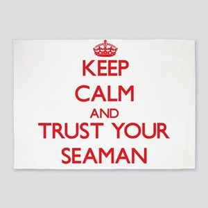 Keep Calm and trust your Seaman 5'x7'Area Rug