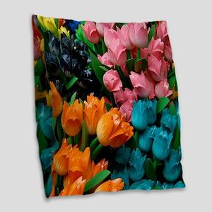 floral amsterdam multi colored tulips Burlap Throw