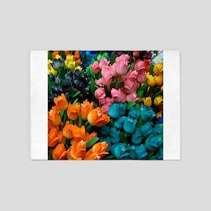 floral amsterdam multi colored tulips 5'x7'Area Ru