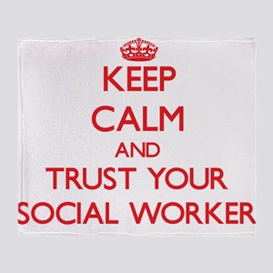 Keep Calm and trust your Social Worker Throw Blank