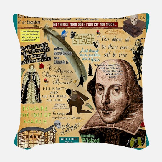 Shakespeare Woven Throw Pillow