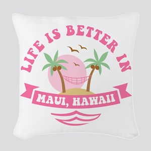 Life's Better In Maui Woven Throw Pillow