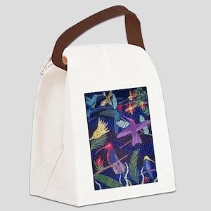 Hummingbird Mosaic Canvas Lunch Bag
