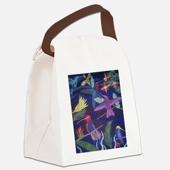Hummingbird Mosaic Canvas Lunch Bag