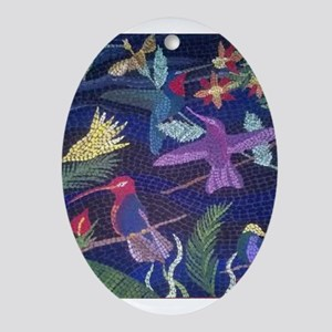 Hummingbird Mosaic Ornament (Oval)