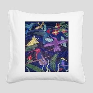 Hummingbird Mosaic Square Canvas Pillow