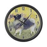 Keeshond in Aspen Large Wall Clock
