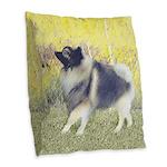 Keeshond in Aspen Burlap Throw Pillow