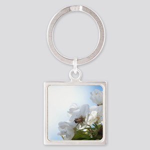 Honey Bee on Cherry Blossoms Square Keychain