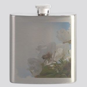 Honey Bee on Cherry Blossoms Flask