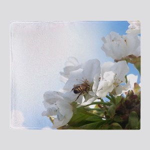 Honey Bee on Cherry Blossoms Throw Blanket
