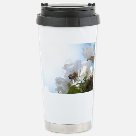 Honey Bee on Cherry Blo Stainless Steel Travel Mug
