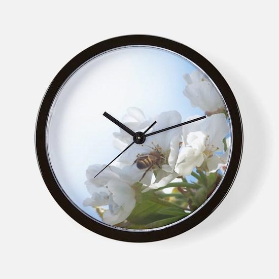 Honey Bee on Cherry Blossoms Wall Clock