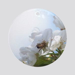 Honey Bee on Cherry Blossoms Round Ornament
