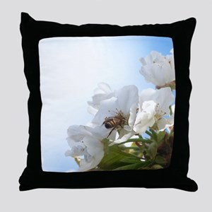 Honey Bee on Cherry Blossoms Throw Pillow