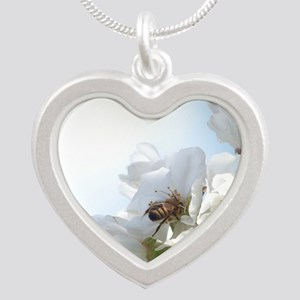 Honey Bee on Cherry Blossoms Silver Heart Necklace