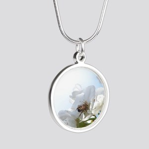 Honey Bee on Cherry Blossoms Silver Round Necklace