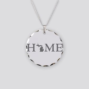 Michigan Home Necklace Circle Charm
